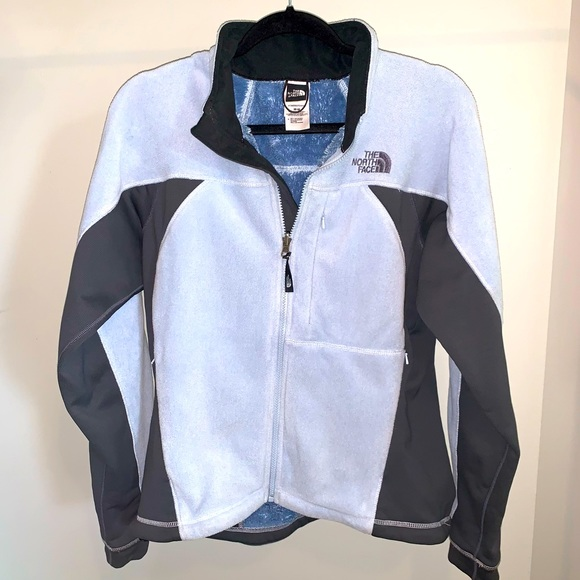 Light Blue and Grey The North Face Fleece Zip-Up